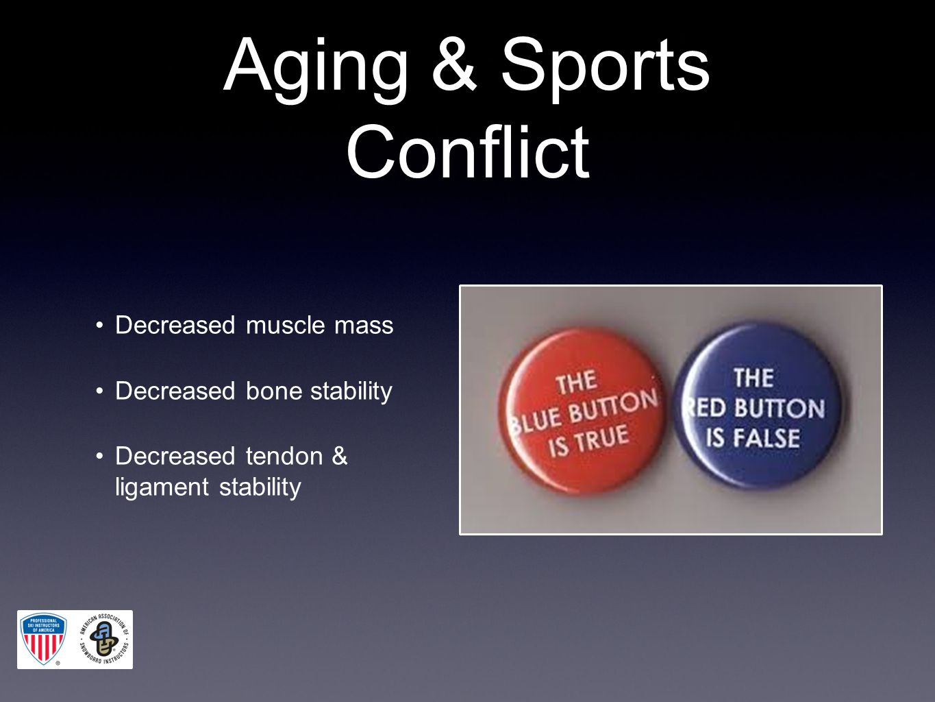 Aging & Sports Conflict Decreased muscle mass Decreased bone stability Decreased tendon & ligament stability