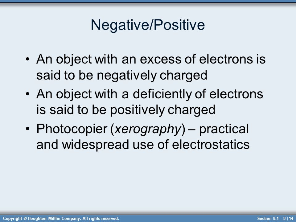 Copyright © Houghton Mifflin Company. All rights reserved.8 | 14 Negative/Positive An object with an excess of electrons is said to be negatively char