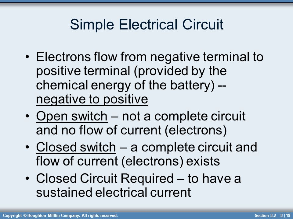 Copyright © Houghton Mifflin Company. All rights reserved.8 | 19 Simple Electrical Circuit Electrons flow from negative terminal to positive terminal