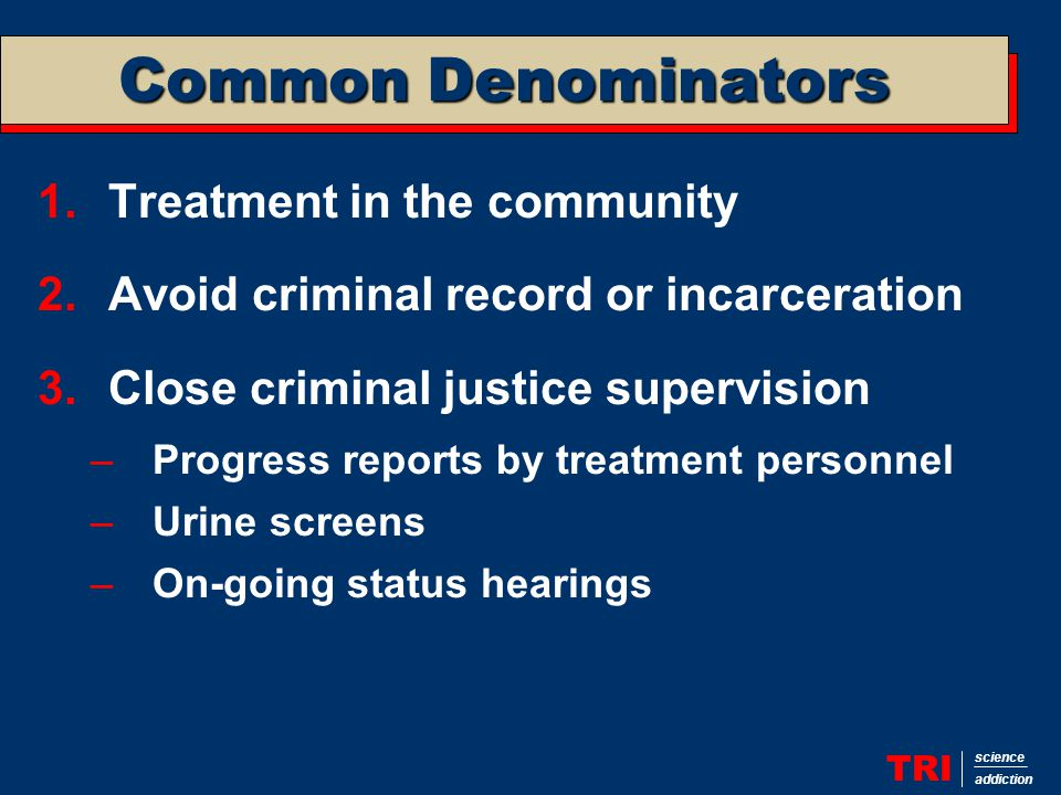 Common Denominators TRI science addiction 1.Treatment in the community 2.Avoid criminal record or incarceration 3.Close criminal justice supervision –Progress reports by treatment personnel –Urine screens –On-going status hearings