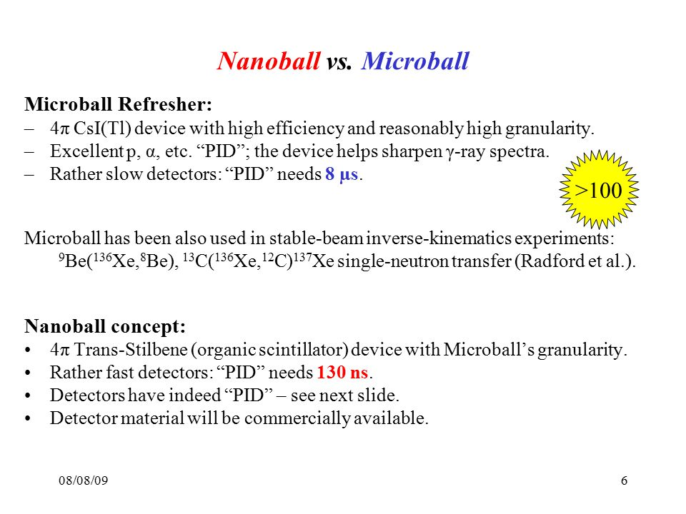 """08/08/096 Nanoball vs. Microball Microball Refresher: –4π CsI(Tl) device with high efficiency and reasonably high granularity. –Excellent p, α, etc. """""""