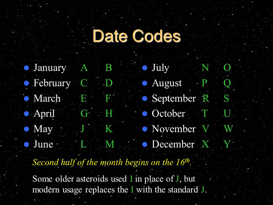 Date Codes January AB February CD March EF April GH May JK June LM July NO August PQ September RS October TU November VW December XY Second half of the month begins on the 16 th.