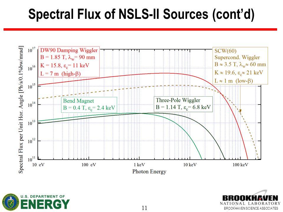 11 BROOKHAVEN SCIENCE ASSOCIATES Spectral Flux of NSLS-II Sources (cont'd)