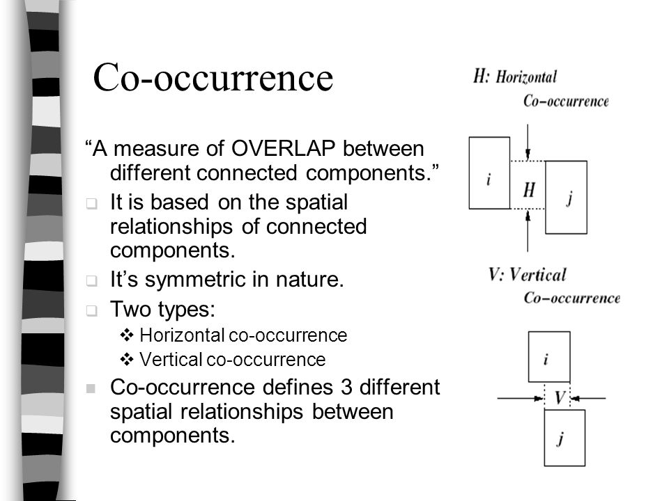 """Co-occurrence """"A measure of OVERLAP between different connected components.""""  It is based on the spatial relationships of connected components.  It'"""