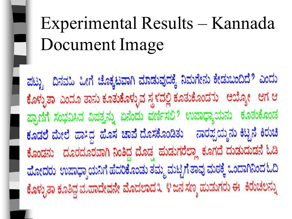 Experimental Results – Kannada Document Image