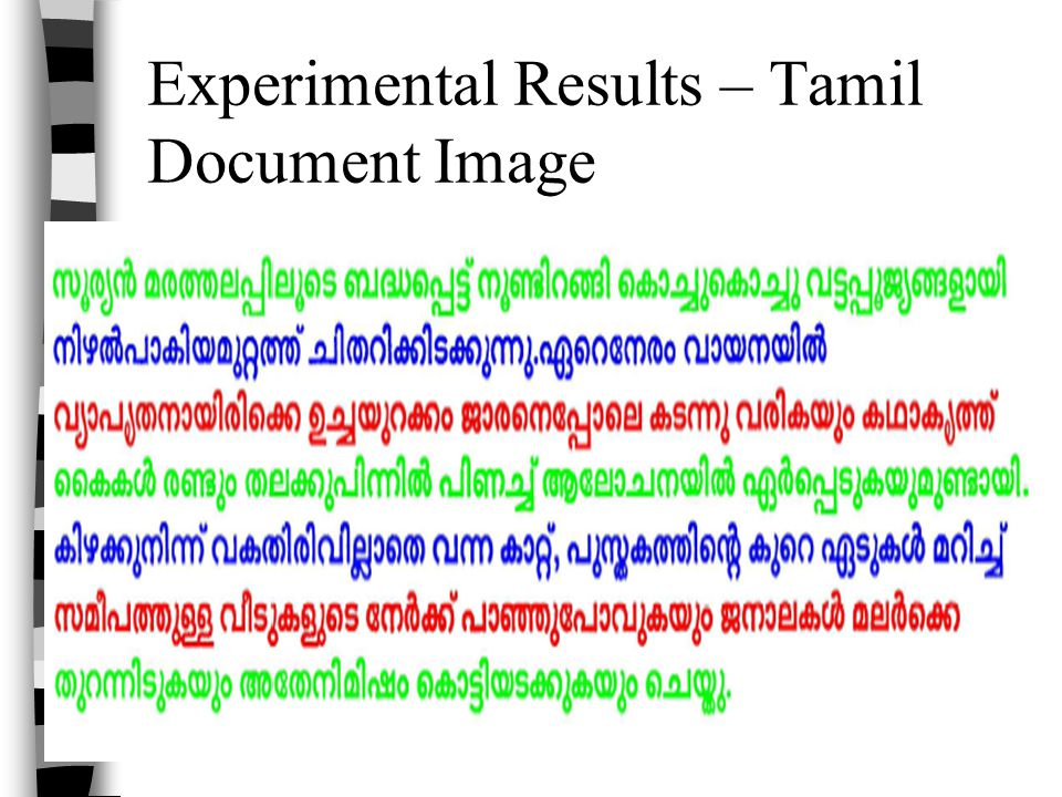 Experimental Results – Tamil Document Image