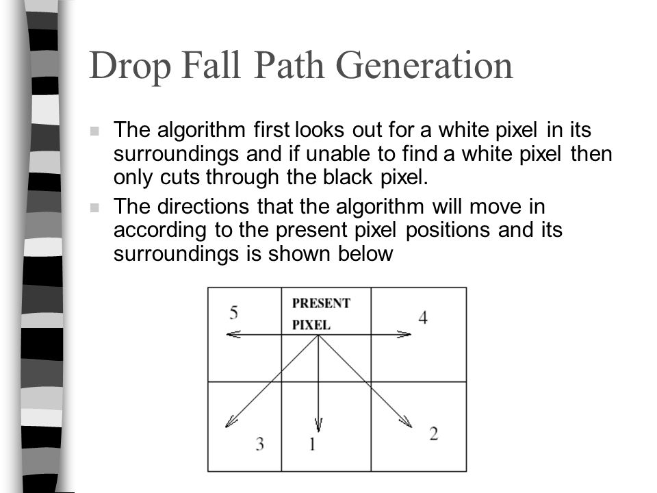 Drop Fall Path Generation n The algorithm first looks out for a white pixel in its surroundings and if unable to find a white pixel then only cuts thr