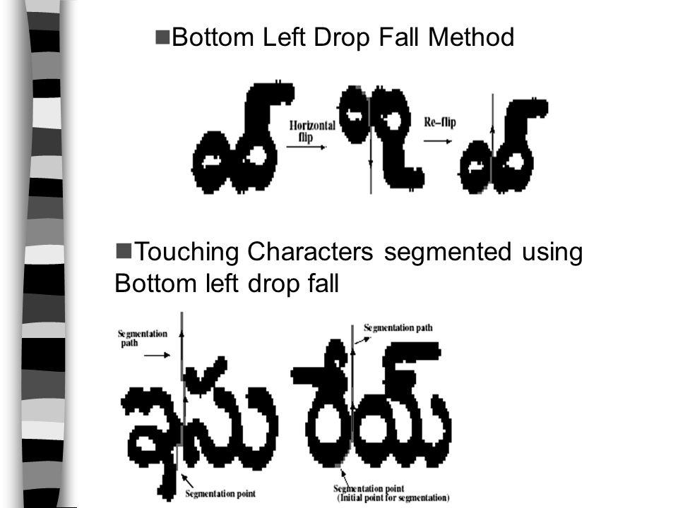 Bottom Left Drop Fall Method Touching Characters segmented using Bottom left drop fall
