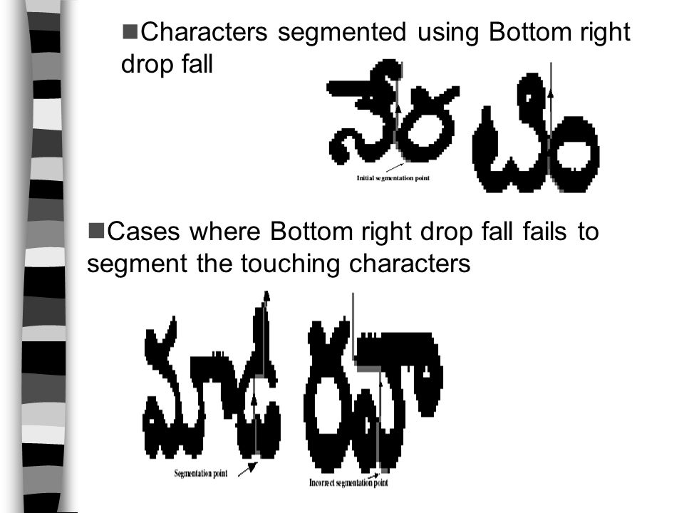 Characters segmented using Bottom right drop fall Cases where Bottom right drop fall fails to segment the touching characters