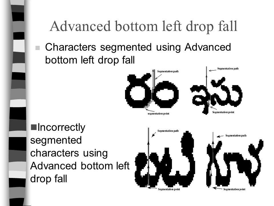 Advanced bottom left drop fall n Characters segmented using Advanced bottom left drop fall Incorrectly segmented characters using Advanced bottom left