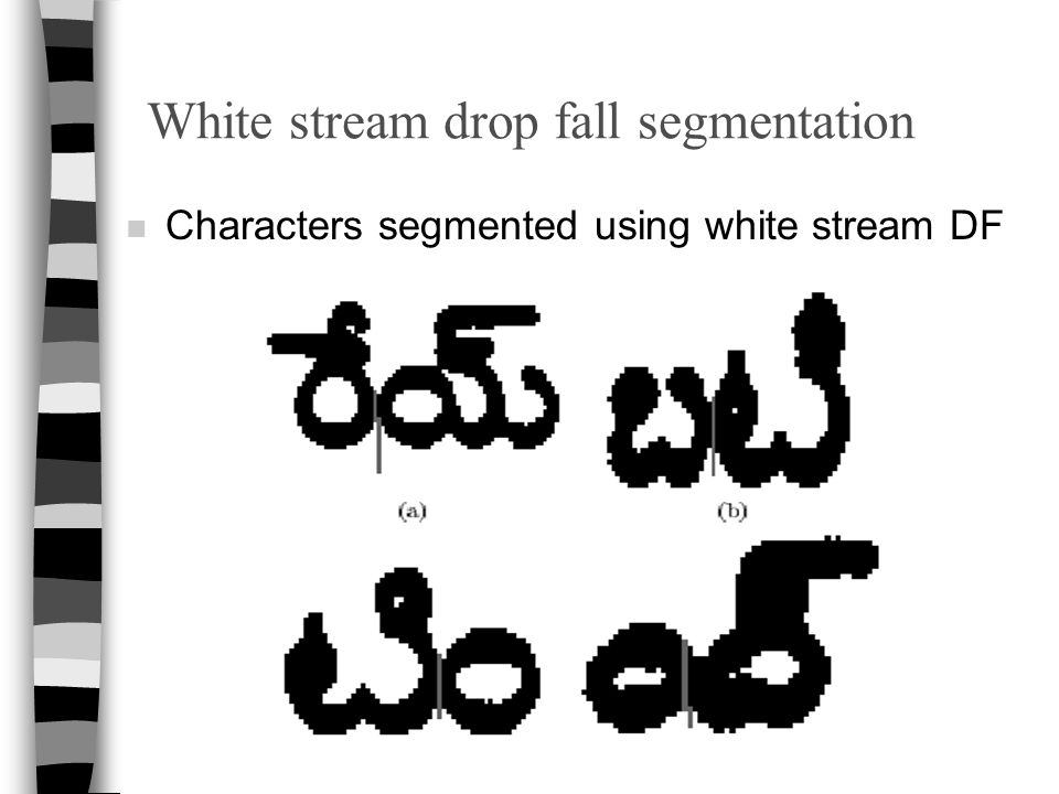 White stream drop fall segmentation n Characters segmented using white stream DF