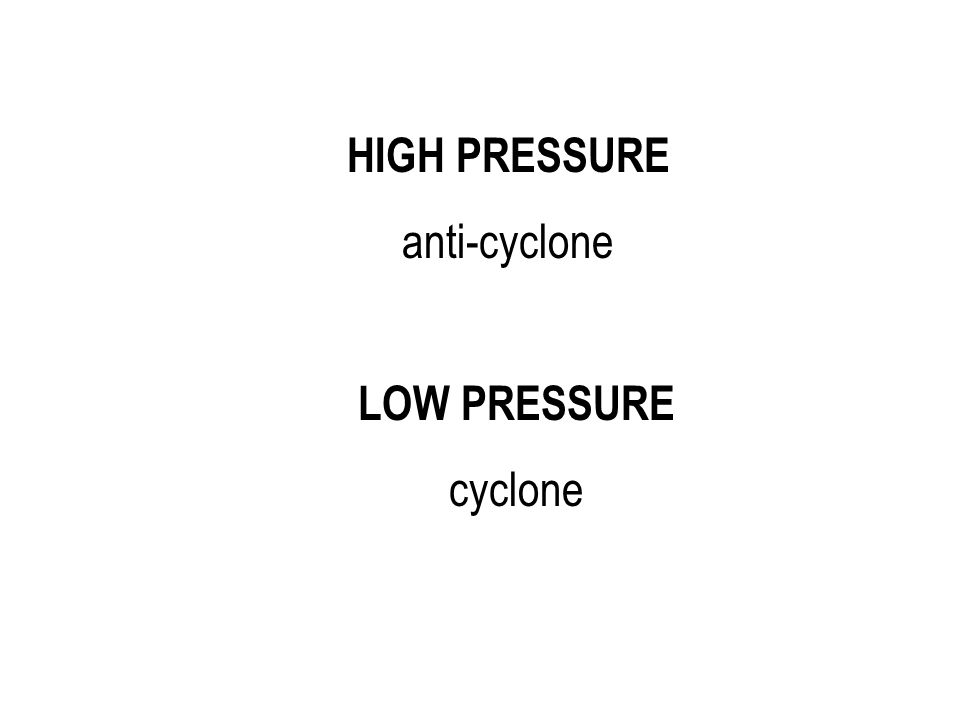 HIGH PRESSURE anti-cyclone LOW PRESSURE cyclone