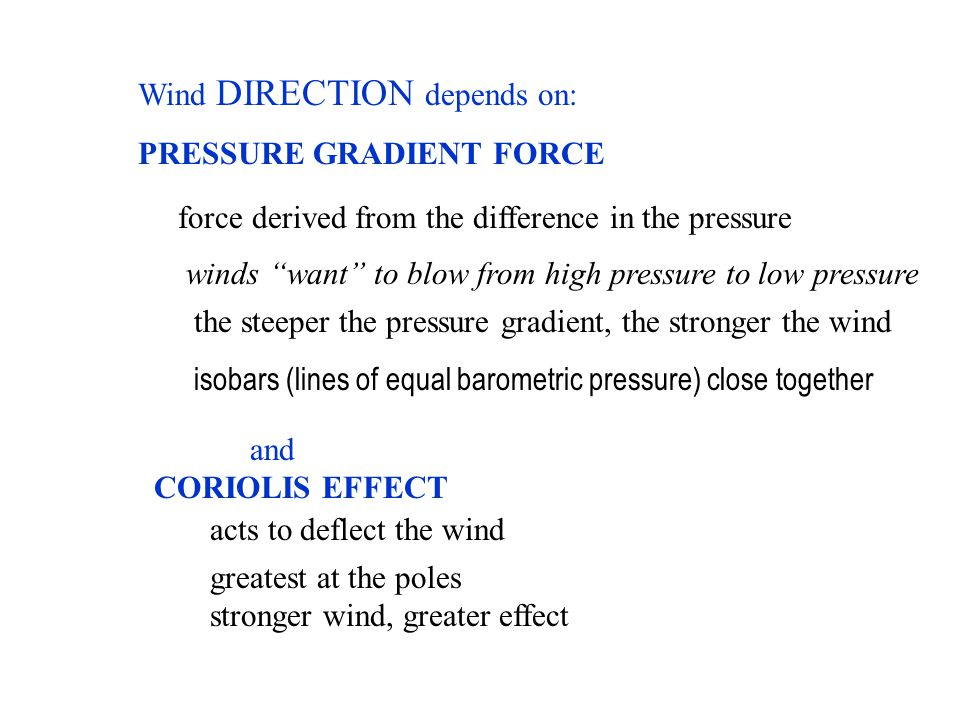 "Wind DIRECTION depends on: PRESSURE GRADIENT FORCE and CORIOLIS EFFECT force derived from the difference in the pressure winds ""want"" to blow from hig"