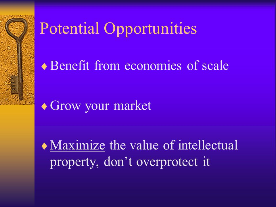 Potential Opportunities  Benefit from economies of scale  Grow your market  Maximize the value of intellectual property, don't overprotect it