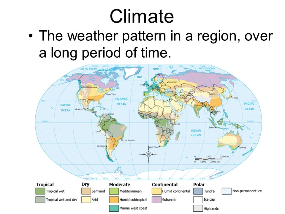 Climate The weather pattern in a region, over a long period of time.