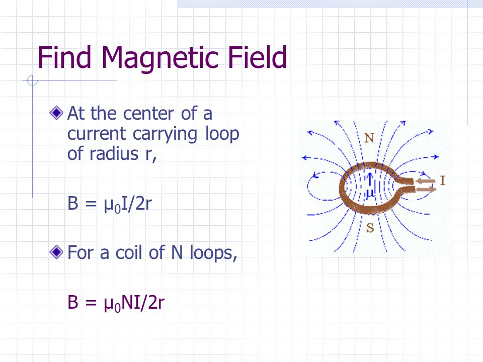 Find Magnetic Field At the center of a current carrying loop of radius r, B = µ 0 I/2r For a coil of N loops, B = µ 0 NI/2r