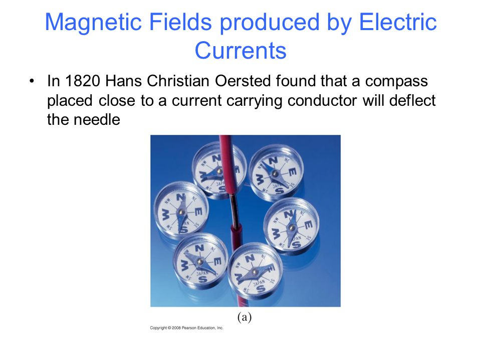 Magnetic Fields produced by Electric Currents In 1820 Hans Christian Oersted found that a compass placed close to a current carrying conductor will deflect the needle