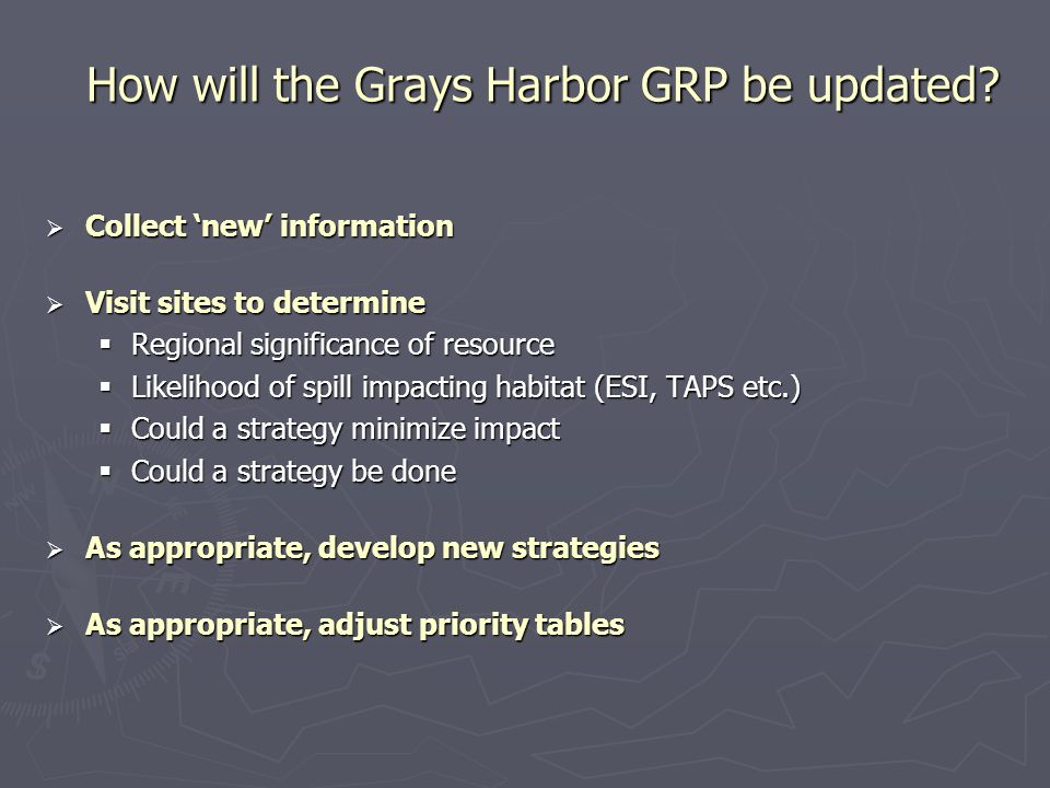 How will the Grays Harbor GRP be updated?  Collect 'new' information  Visit sites to determine  Regional significance of resource  Likelihood of s