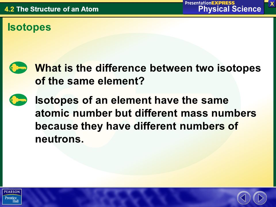 4.2 The Structure of an Atom What is the difference between two isotopes of the same element.