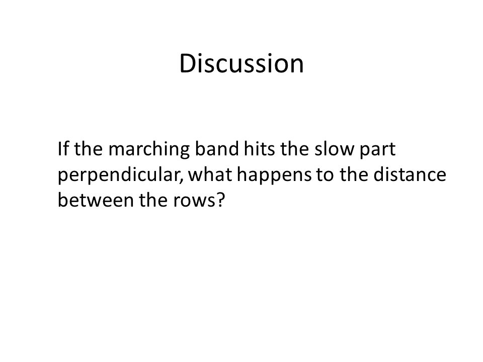Discussion If the marching band hits the slow part perpendicular, what happens to the distance between the rows