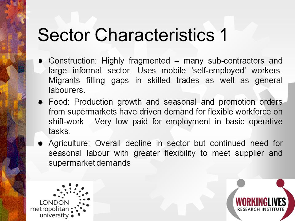 Sector Characteristics 1  Construction: Highly fragmented – many sub-contractors and large informal sector. Uses mobile 'self-employed' workers. Migr