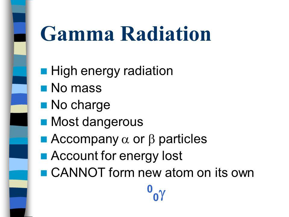 Characteristics of Radiation Types RadiationSymbolMass (amu) Charge Alpha  42+ Beta  1/18401- Gamma  00