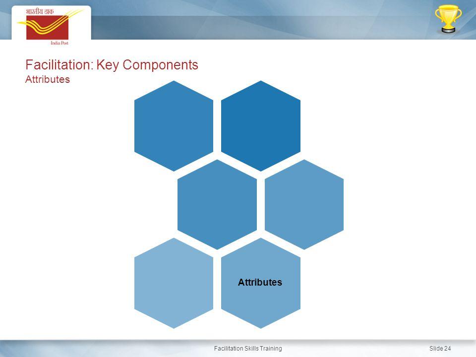 Facilitation Skills Training Slide 24 Attributes Facilitation: Key Components Attributes