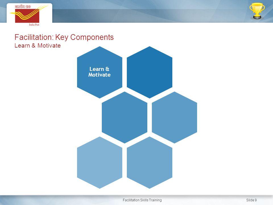 Facilitation Skills Training Slide 9 Learn & Motivate Facilitation: Key Components Learn & Motivate