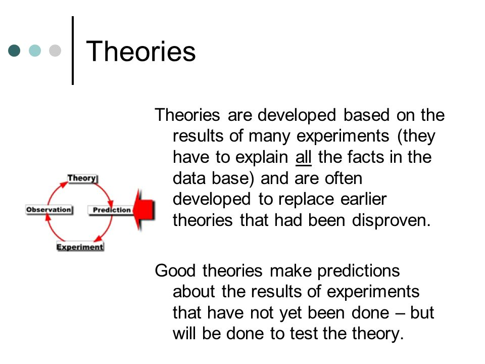 Theories Theories are developed based on the results of many experiments (they have to explain all the facts in the data base) and are often developed