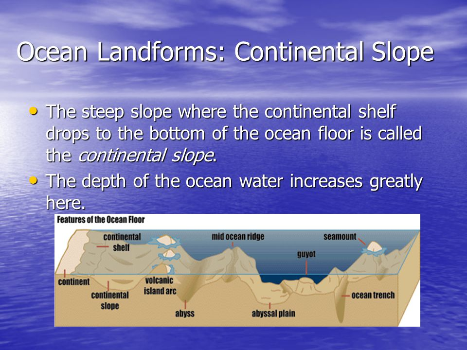 Ocean Landforms: Continental Slope The steep slope where the continental shelf drops to the bottom of the ocean floor is called the continental slope.