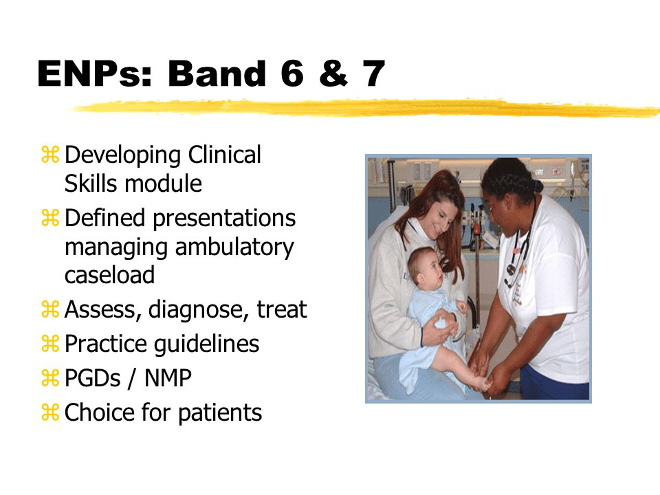 ENPs: Band 6 & 7 zDeveloping Clinical Skills module zDefined presentations managing ambulatory caseload zAssess, diagnose, treat zPractice guidelines zPGDs / NMP zChoice for patients