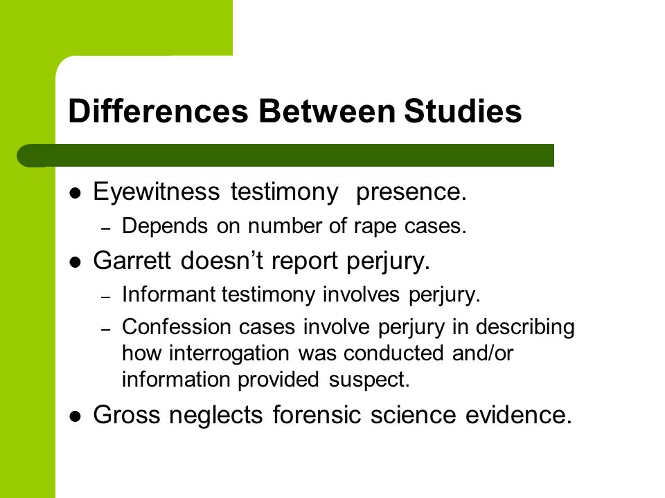 Differences Between Studies Eyewitness testimony presence.