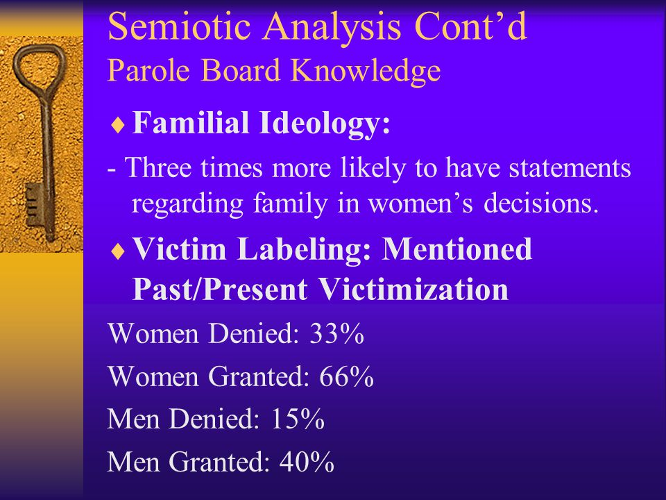 Semiotic Analysis Cont'd Parole Board Knowledge  Familial Ideology: - Three times more likely to have statements regarding family in women's decisions.