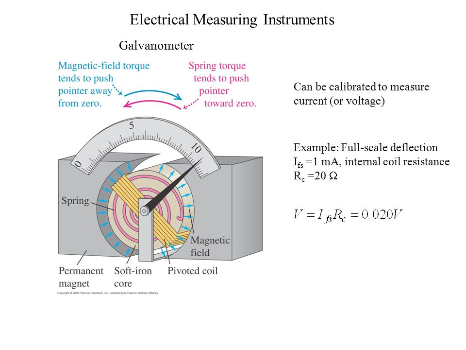 Electrical Measuring Instruments Galvanometer Can be calibrated to measure current (or voltage) Example: Full-scale deflection I fs =1 mA, internal coil resistance R c =20 