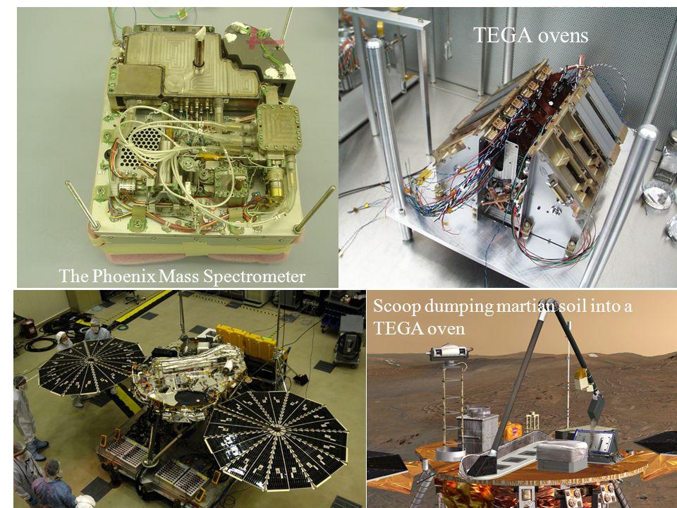 TEGA ovens The Phoenix Mass Spectrometer Scoop dumping martian soil into a TEGA oven