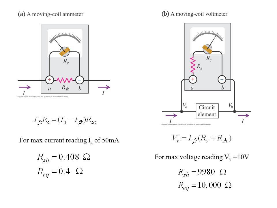 For max current reading I a of 50mA For max voltage reading V v =10V