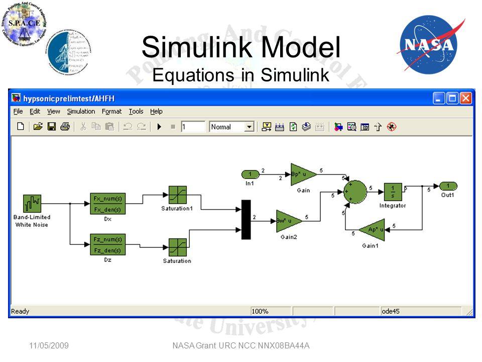 Simulink Model 11/05/2009NASA Grant URC NCC NNX08BA44A Equations in Simulink