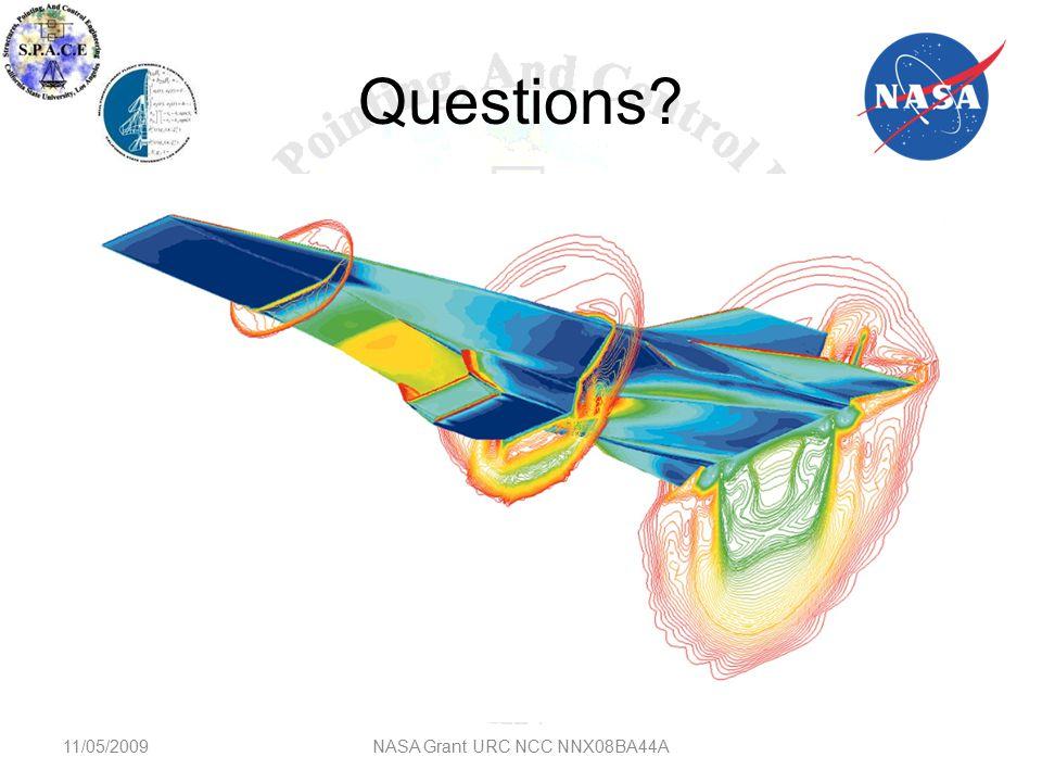Questions? 11/05/2009NASA Grant URC NCC NNX08BA44A