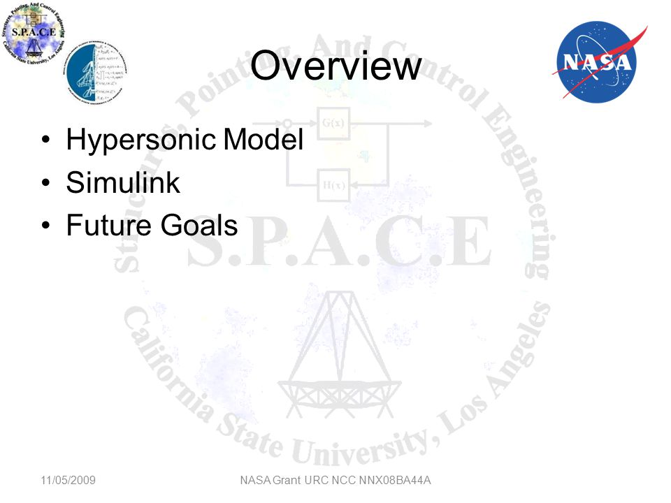 Overview Hypersonic Model Simulink Future Goals 11/05/2009NASA Grant URC NCC NNX08BA44A