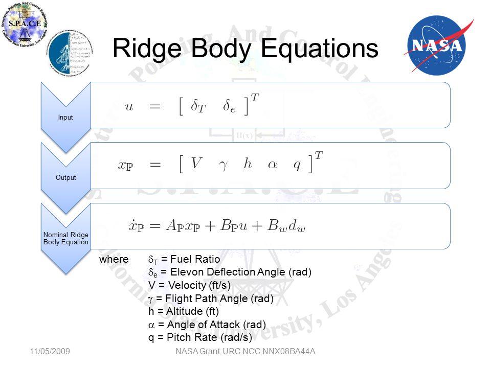 (conti) Equations 11/05/2009NASA Grant URC NCC NNX08BA44A