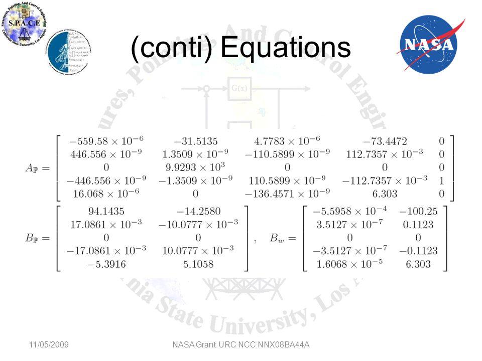 Disturbance 11/05/2009NASA Grant URC NCC NNX08BA44A Disturbance due to the longitudinal and vertical wind gusts dx and dz.