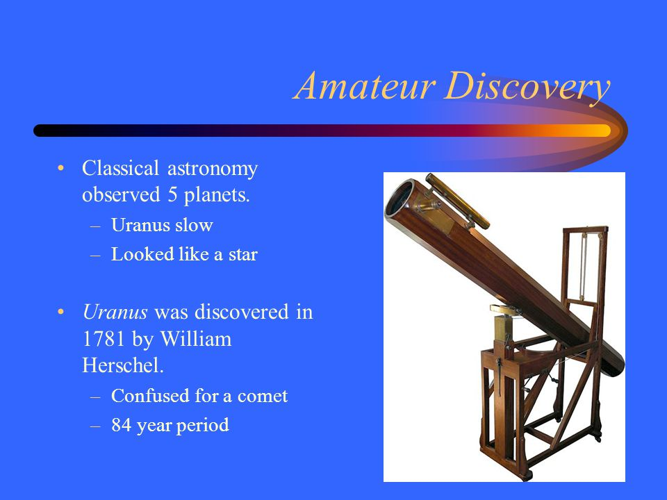 Amateur Discovery Classical astronomy observed 5 planets.