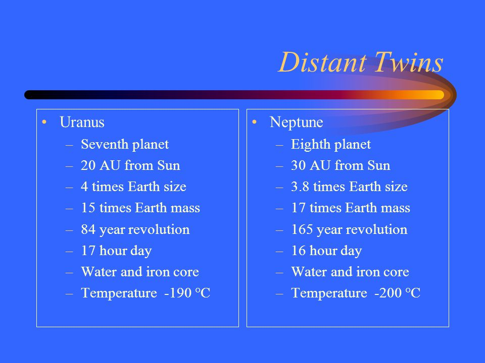 Distant Twins Uranus –Seventh planet –20 AU from Sun –4 times Earth size –15 times Earth mass –84 year revolution –17 hour day –Water and iron core –Temperature -190 °C Neptune –Eighth planet –30 AU from Sun –3.8 times Earth size –17 times Earth mass –165 year revolution –16 hour day –Water and iron core –Temperature -200 °C