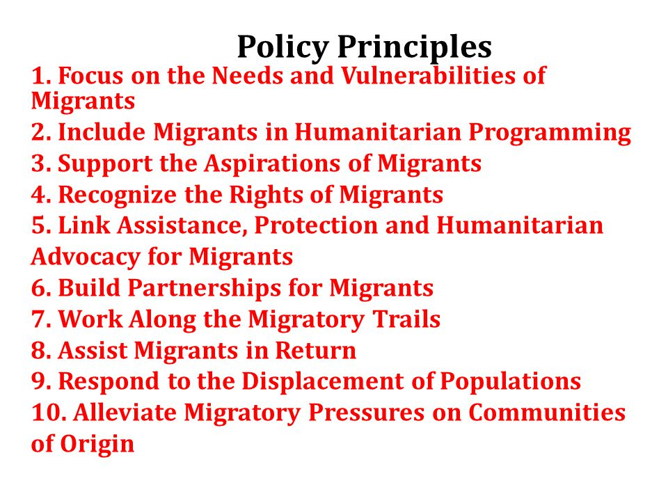 Policy Principles 1. Focus on the Needs and Vulnerabilities of Migrants 2.