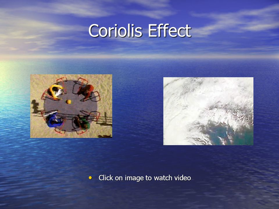 Coriolis Effect Click on image to watch video Click on image to watch video