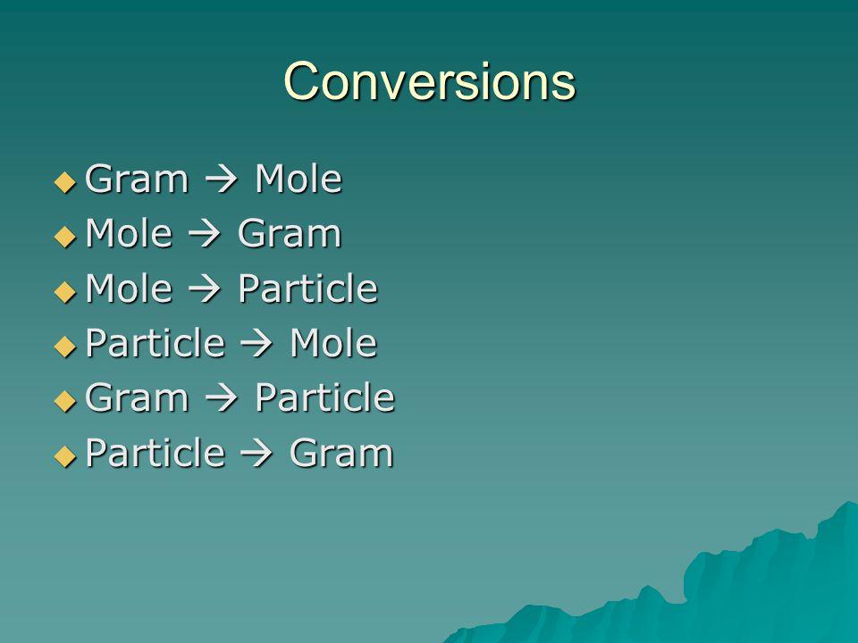 Conversions  Gram  Mole  Mole  Gram  Mole  Particle  Particle  Mole  Gram  Particle  Particle  Gram