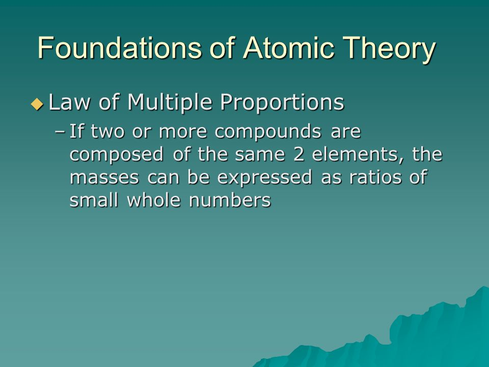 Foundations of Atomic Theory  Law of Multiple Proportions –If two or more compounds are composed of the same 2 elements, the masses can be expressed