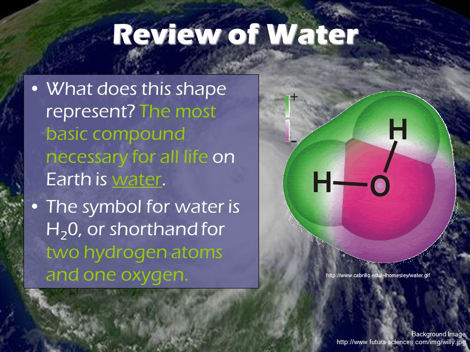 Background Image http://www.futura-sciences.com/img/willy.jpg Review of Water What does this shape represent? The most basic compound necessary for al
