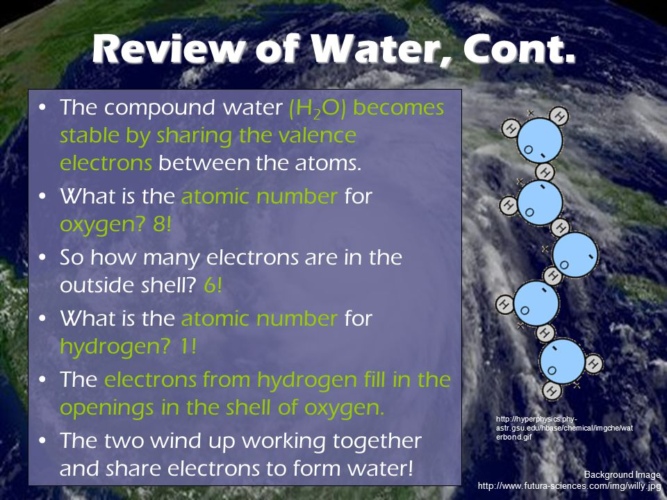 Background Image http://www.futura-sciences.com/img/willy.jpg Review of Water, Cont. The compound water (H 2 O) becomes stable by sharing the valence