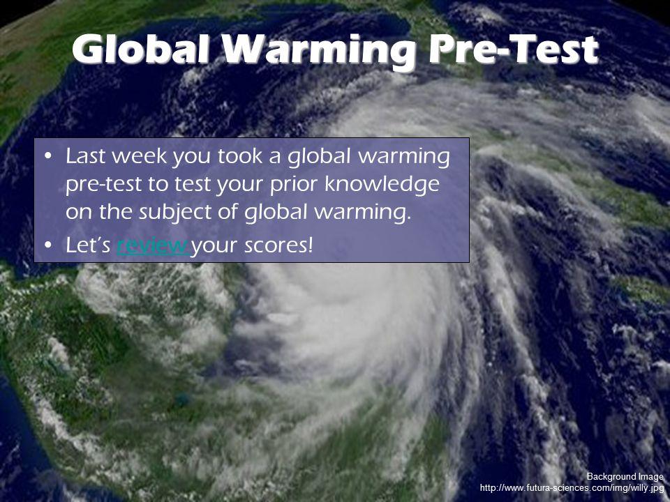 Background Image http://www.futura-sciences.com/img/willy.jpg Global Warming Pre-Test Last week you took a global warming pre-test to test your prior
